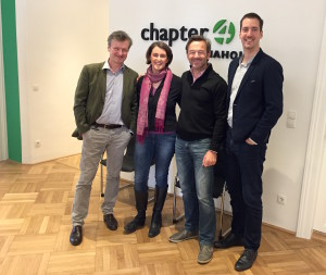 Im neuen Media House (v.l.n.r.): Severin Heinisch (GF Chapter 4), Natalie Eiffe -Kuhn und Georg Dutzi (Press'n'Relations) und Boris Beker (Chapter 4)