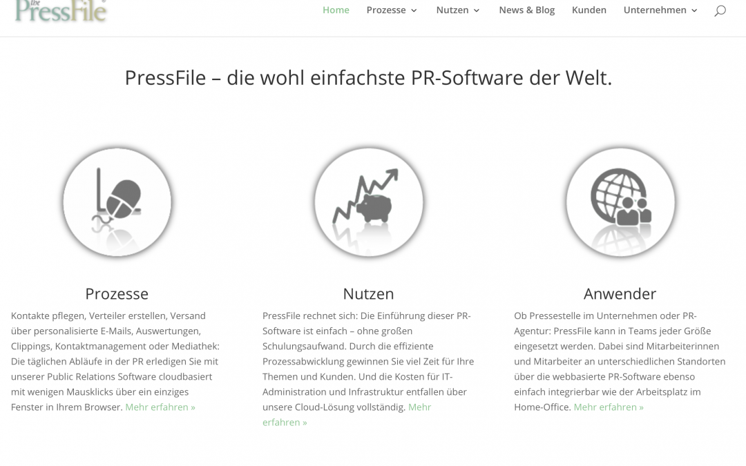 Website der PR-Software PressFile
