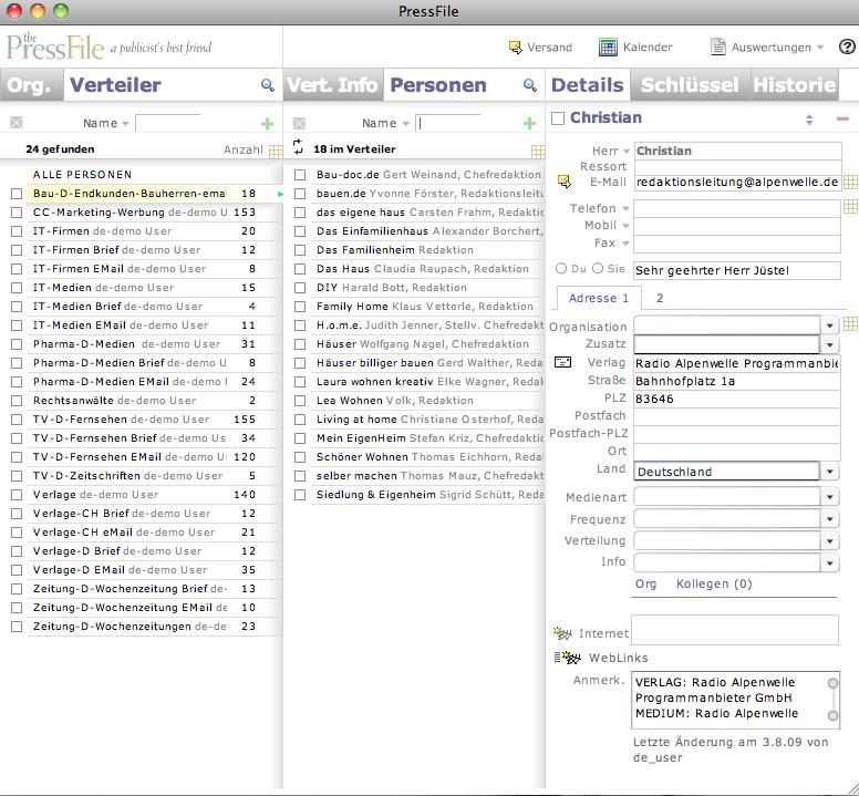PR-Software PressFile auf Flash-Basis